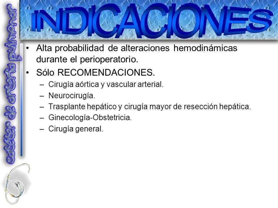 INDICACIONESAlta probabilidad de alteraciones hemodinámicas durante el perioperatorio. Sólo RECOMENDACIONES.