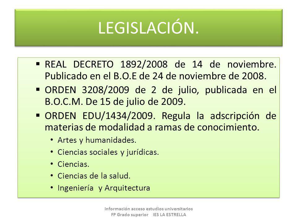 LEGISLACIÓN. REAL DECRETO 1892/2008 de 14 de noviembre. Publicado en el B.O.E de 24 de noviembre de 2008.