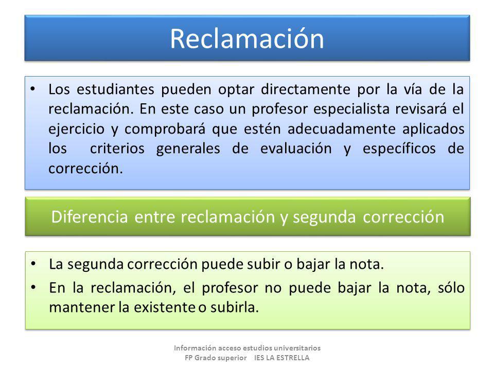 Diferencia entre reclamación y segunda corrección