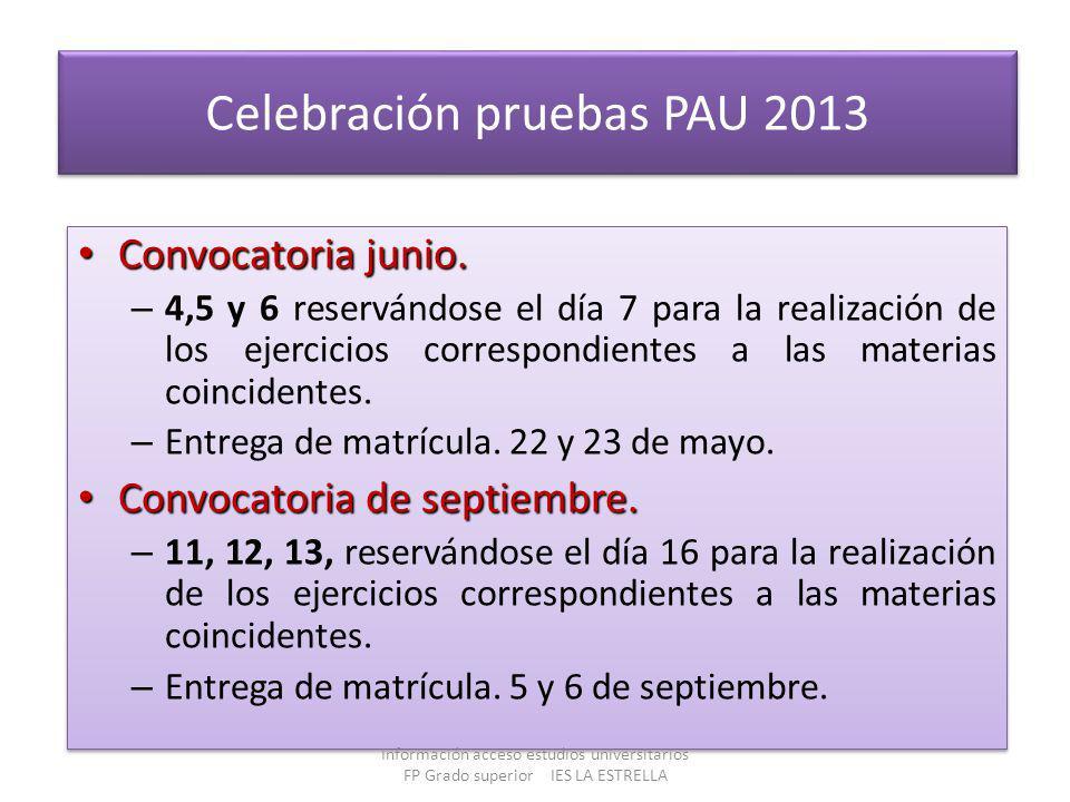 Celebración pruebas PAU 2013