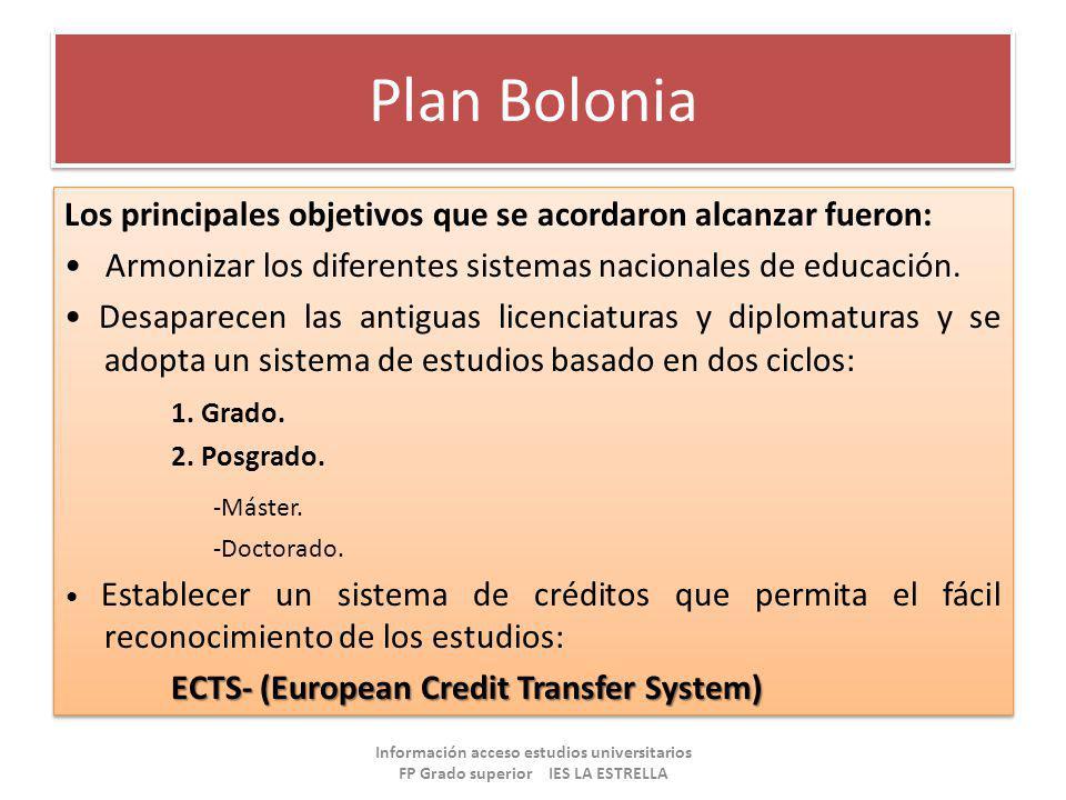 Plan Bolonia Los principales objetivos que se acordaron alcanzar fueron: • Armonizar los diferentes sistemas nacionales de educación.
