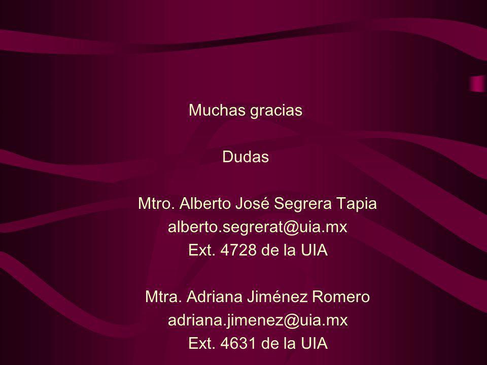 Mtro. Alberto José Segrera Tapia alberto.segrerat@uia.mx