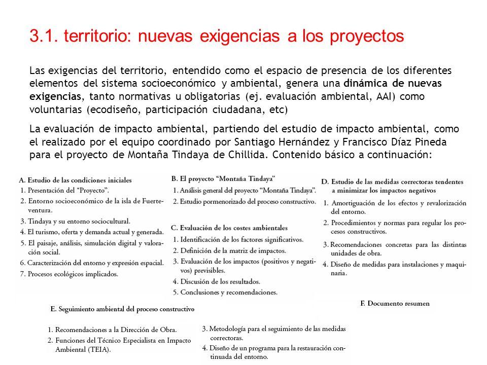 3.1. territorio: nuevas exigencias a los proyectos