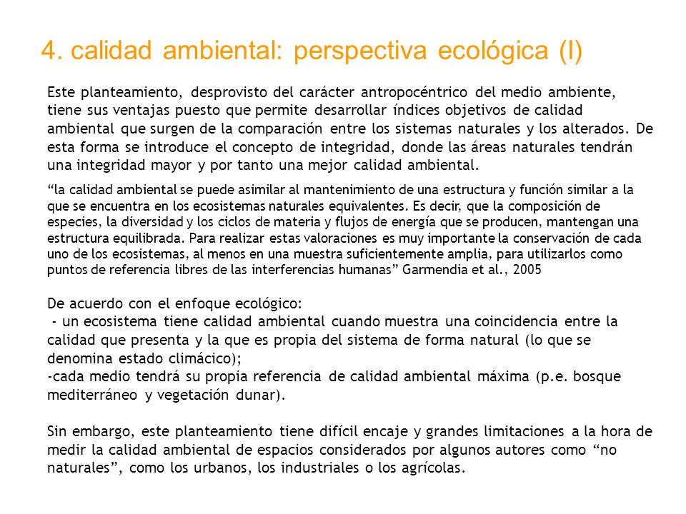 4. calidad ambiental: perspectiva ecológica (I)