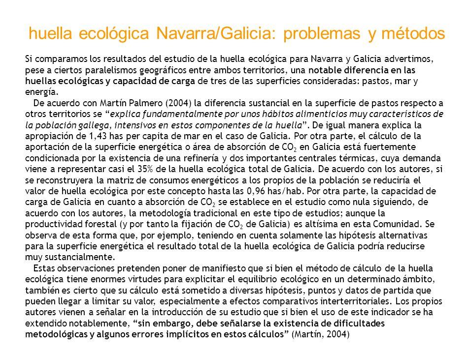 huella ecológica Navarra/Galicia: problemas y métodos