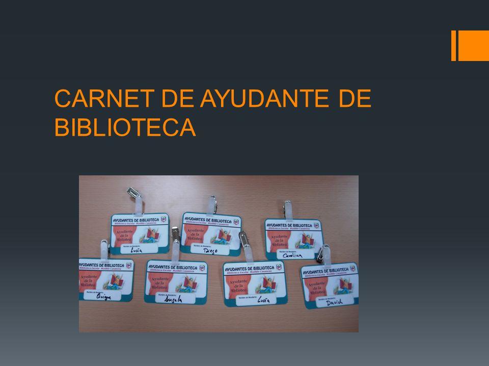 CARNET DE AYUDANTE DE BIBLIOTECA