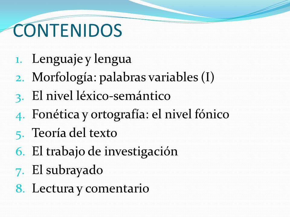 CONTENIDOS Lenguaje y lengua Morfología: palabras variables (I)