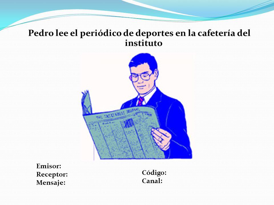 Pedro lee el periódico de deportes en la cafetería del instituto