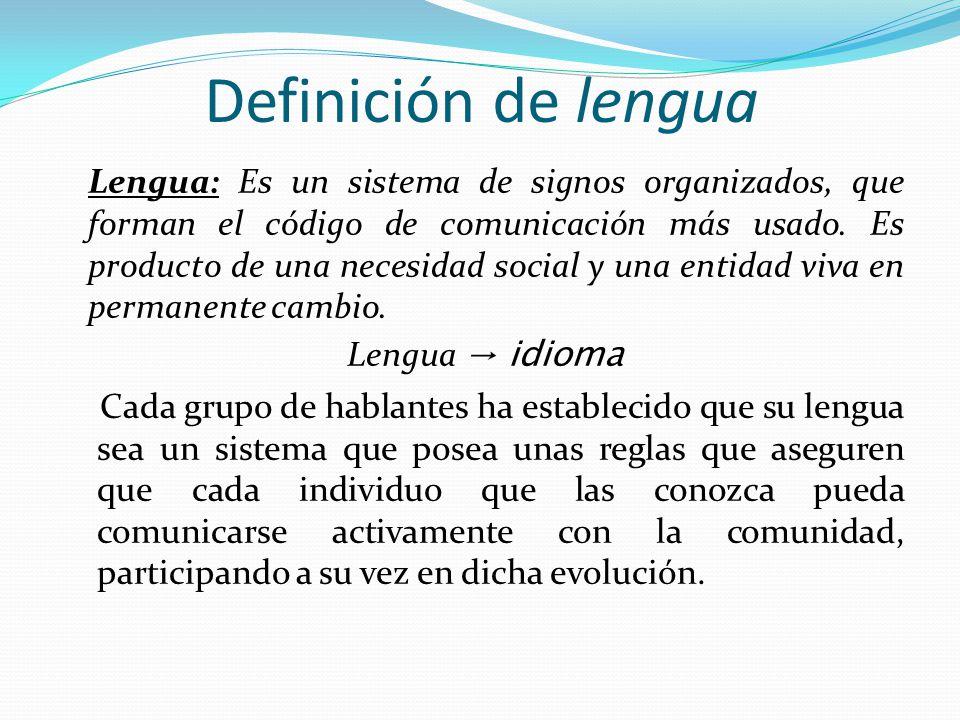 Definición de lengua