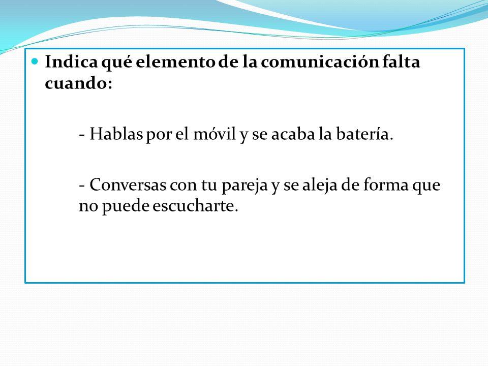 Indica qué elemento de la comunicación falta cuando: