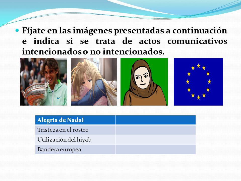 Fíjate en las imágenes presentadas a continuación e indica si se trata de actos comunicativos intencionados o no intencionados.