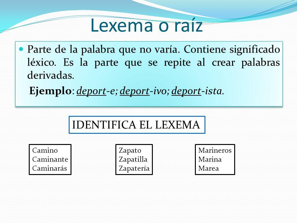 Lexema o raíz IDENTIFICA EL LEXEMA