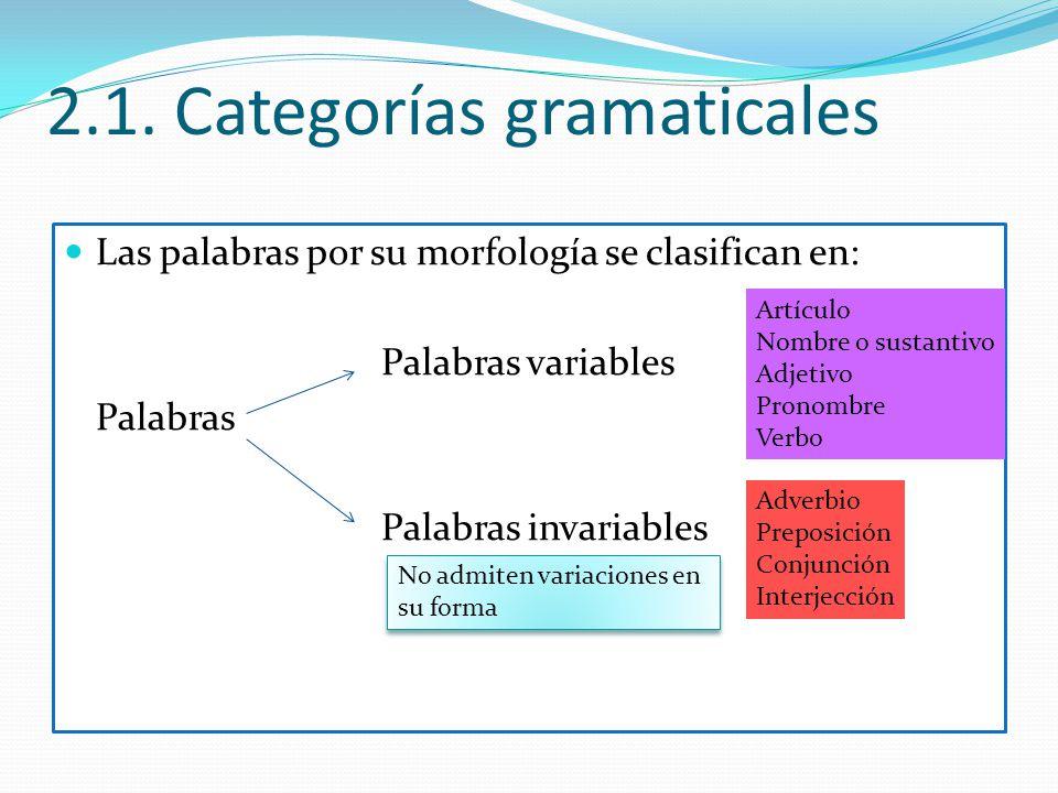 2.1. Categorías gramaticales