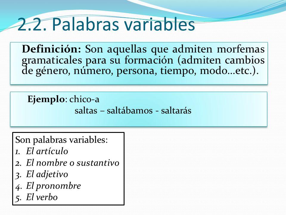 2.2. Palabras variables