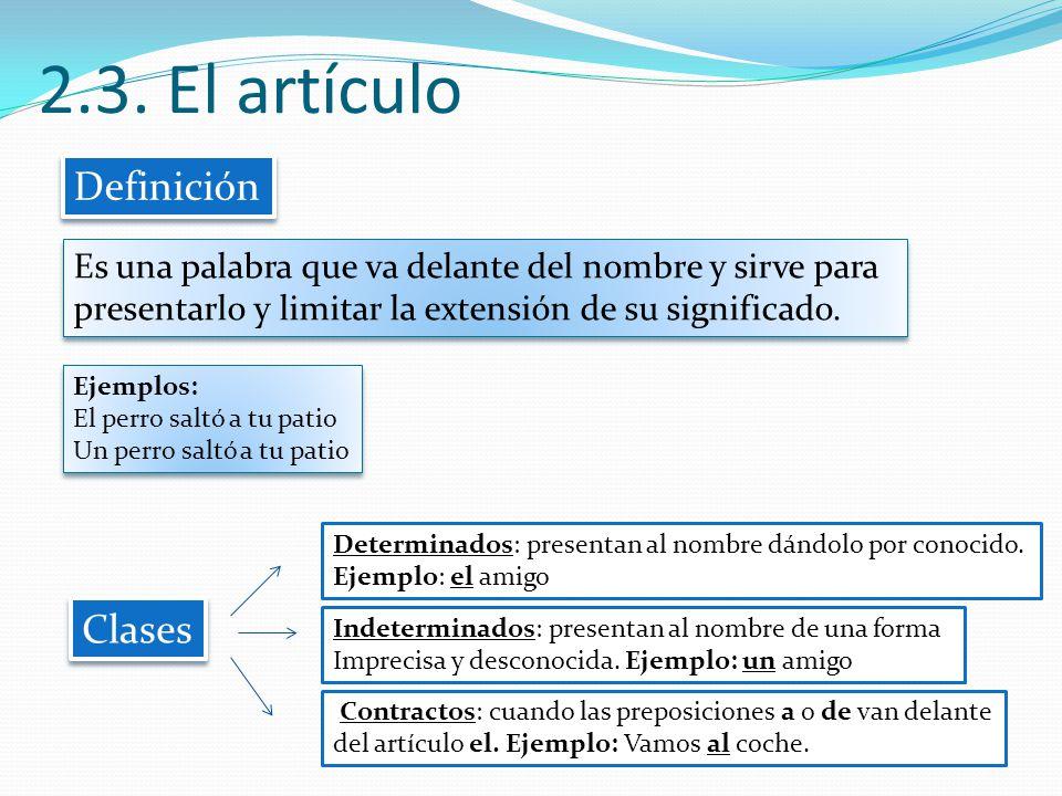 2.3. El artículo Definición Clases