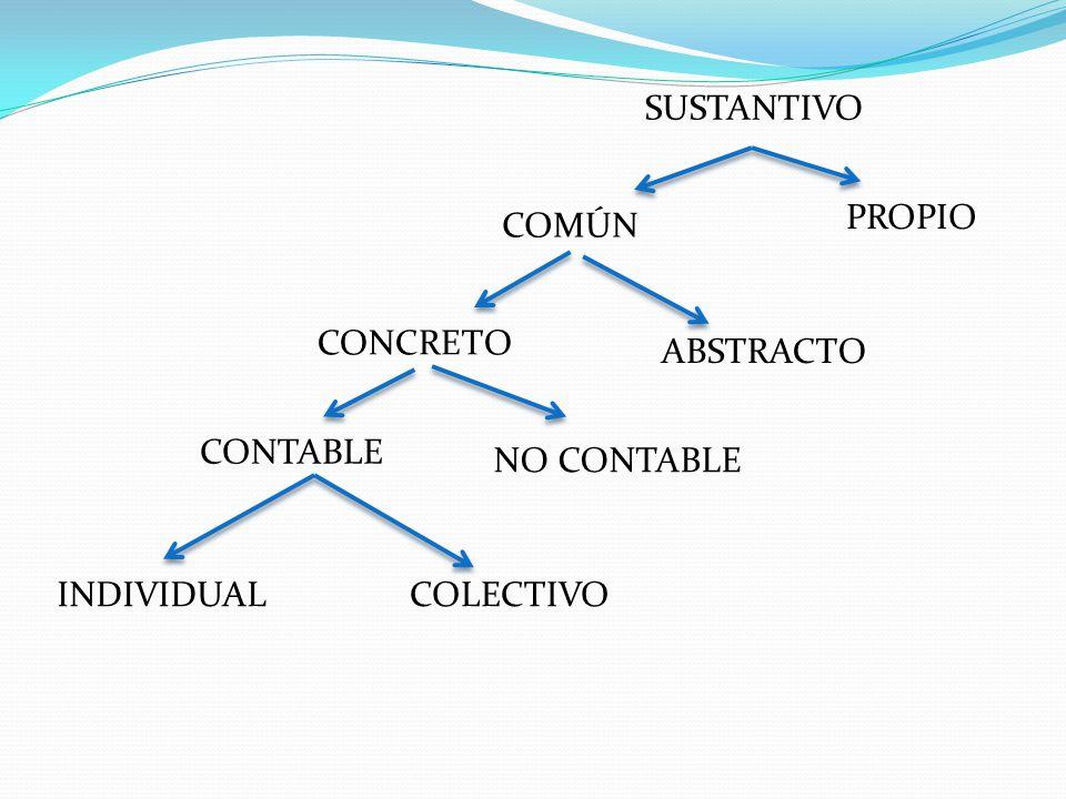 SUSTANTIVO PROPIO COMÚN CONCRETO ABSTRACTO CONTABLE NO CONTABLE INDIVIDUAL COLECTIVO