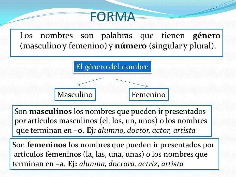 FORMA Los nombres son palabras que tienen género (masculino y femenino) y número (singular y plural).