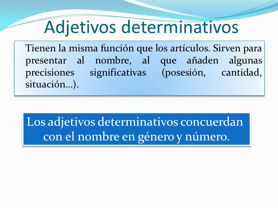 Adjetivos determinativos