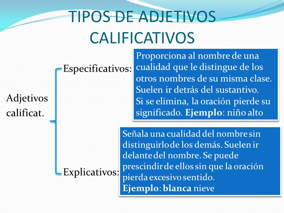 TIPOS DE ADJETIVOS CALIFICATIVOS