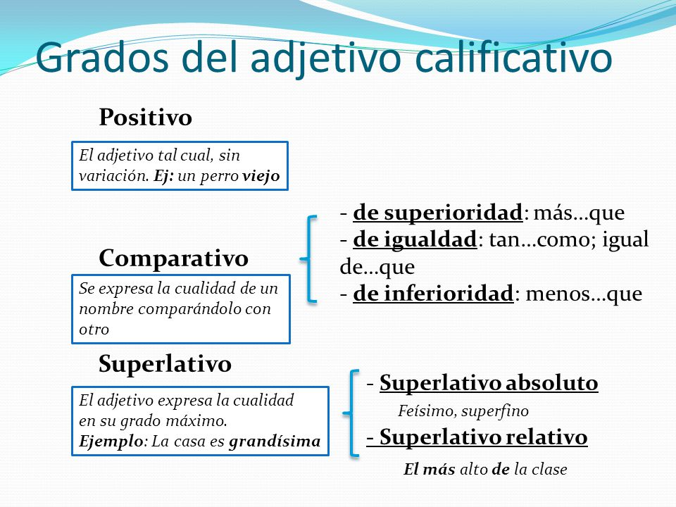 Grados del adjetivo calificativo
