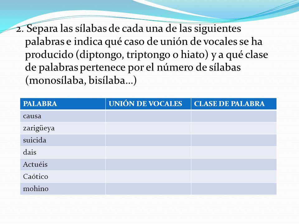 2. Separa las sílabas de cada una de las siguientes palabras e indica qué caso de unión de vocales se ha producido (diptongo, triptongo o hiato) y a qué clase de palabras pertenece por el número de sílabas (monosílaba, bisílaba…)