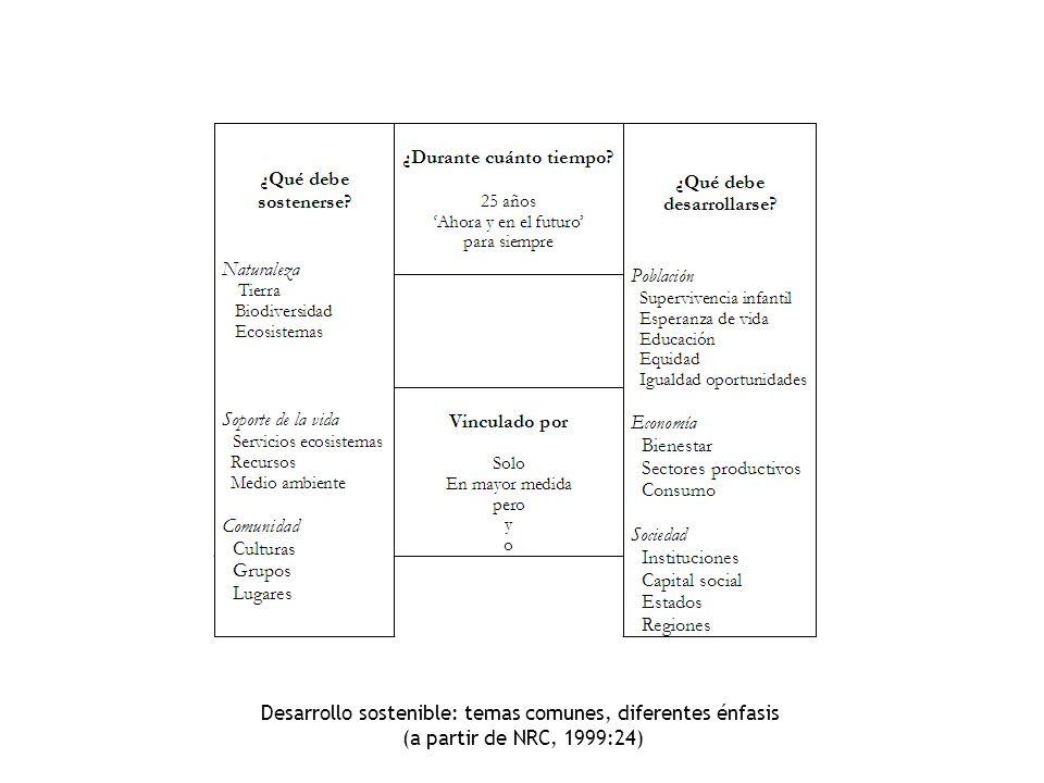 Desarrollo sostenible: temas comunes, diferentes énfasis