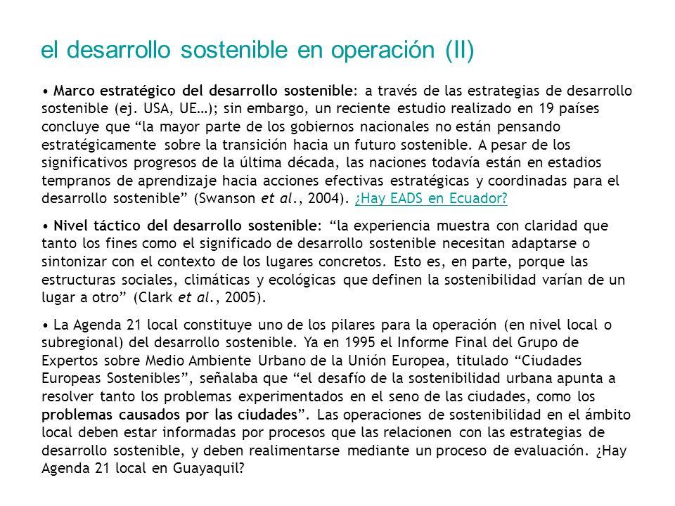 el desarrollo sostenible en operación (II)