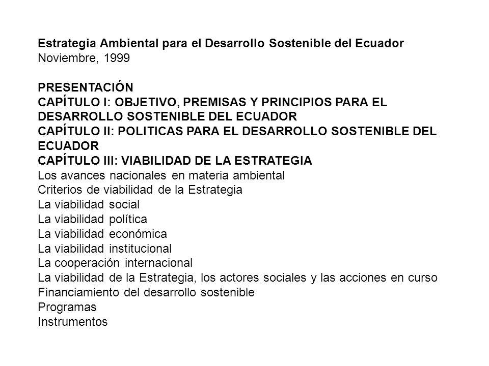 Estrategia Ambiental para el Desarrollo Sostenible del Ecuador