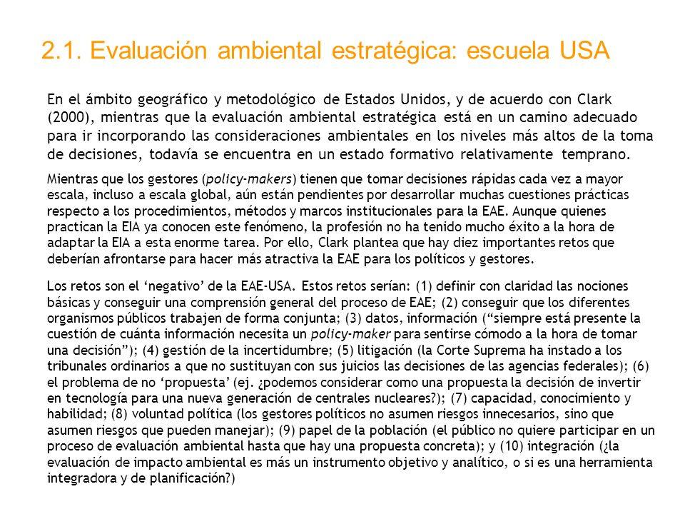 2.1. Evaluación ambiental estratégica: escuela USA