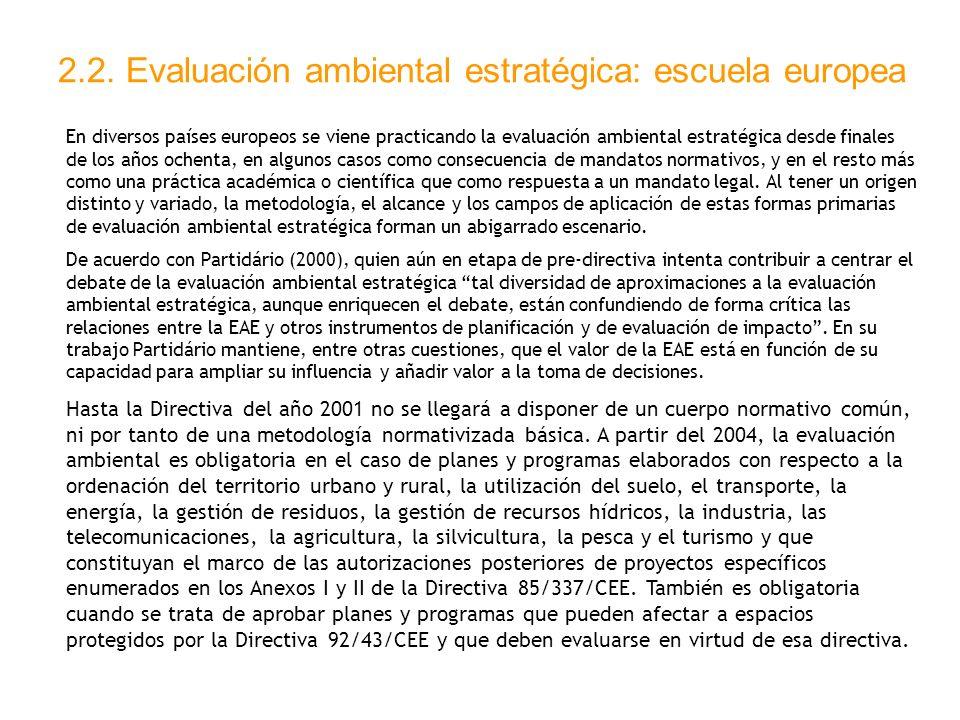 2.2. Evaluación ambiental estratégica: escuela europea