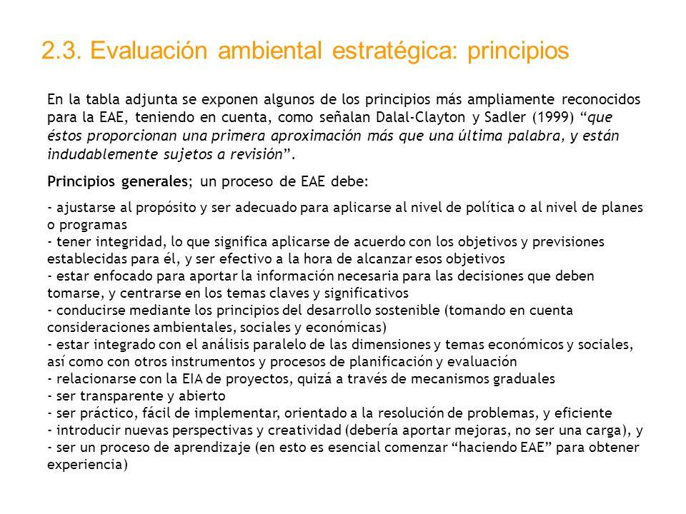 2.3. Evaluación ambiental estratégica: principios