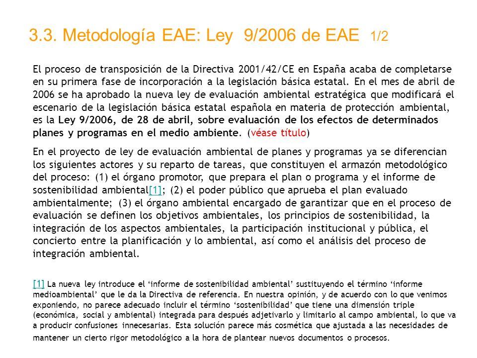 3.3. Metodología EAE: Ley 9/2006 de EAE 1/2