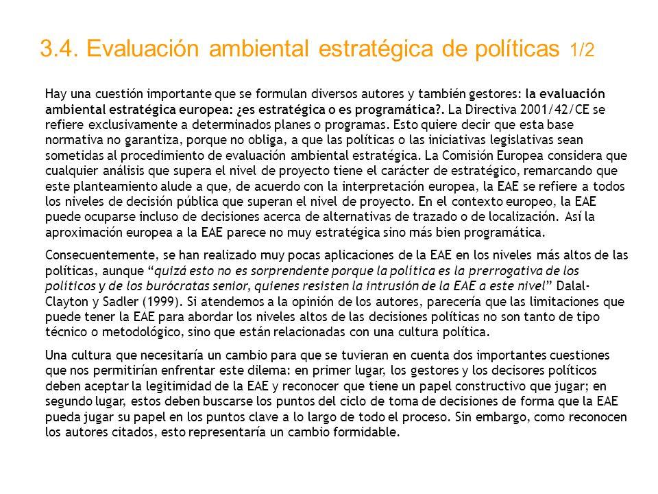 3.4. Evaluación ambiental estratégica de políticas 1/2