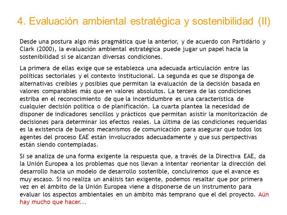 4. Evaluación ambiental estratégica y sostenibilidad (II)