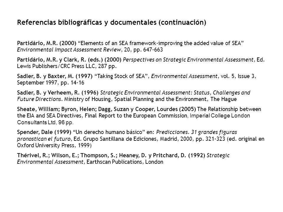 Referencias bibliográficas y documentales (continuación)