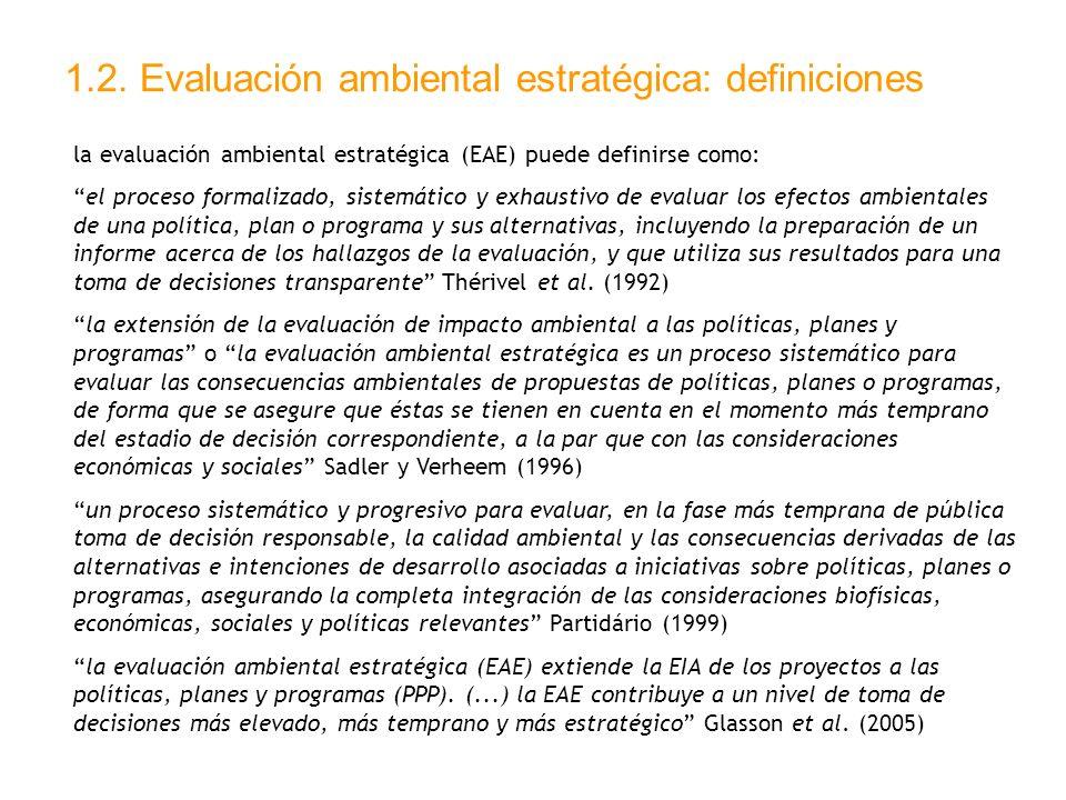 1.2. Evaluación ambiental estratégica: definiciones
