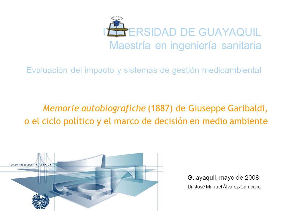 UNIVERSIDAD DE GUAYAQUIL Maestría en ingeniería sanitaria Evaluación del impacto y sistemas de gestión medioambiental