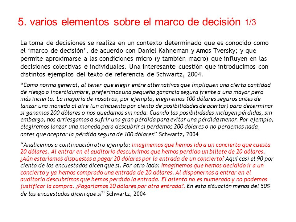 5. varios elementos sobre el marco de decisión 1/3