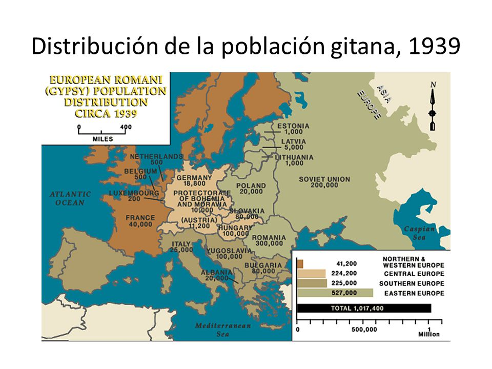 Distribución de la población gitana, 1939