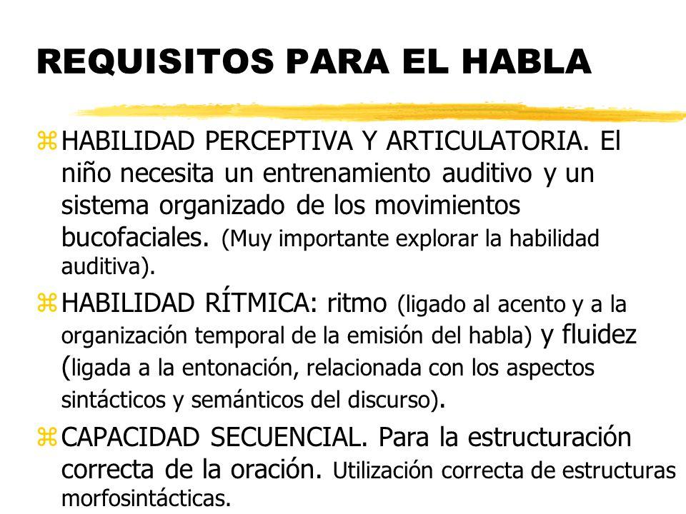 REQUISITOS PARA EL HABLA