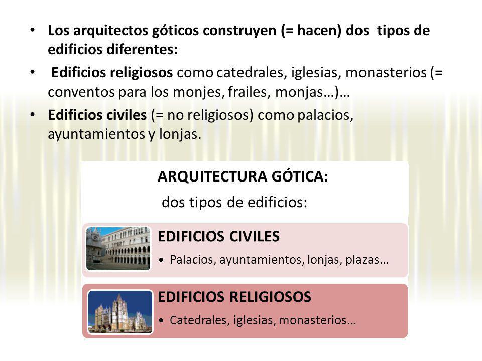 Los arquitectos góticos construyen (= hacen) dos tipos de edificios diferentes: