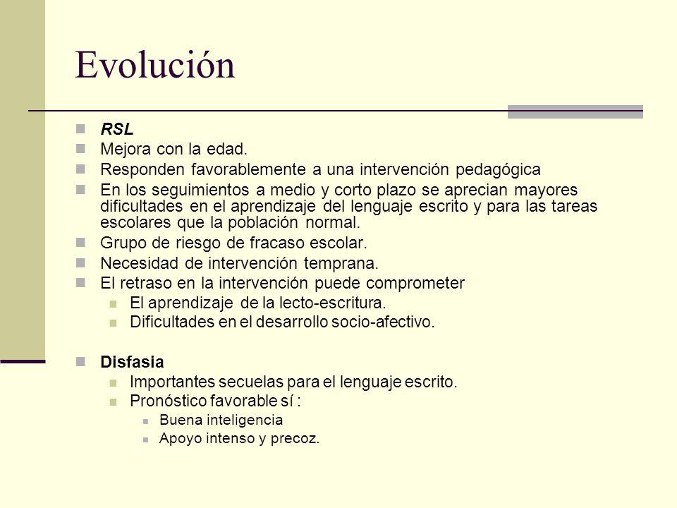 Evolución RSL Mejora con la edad.