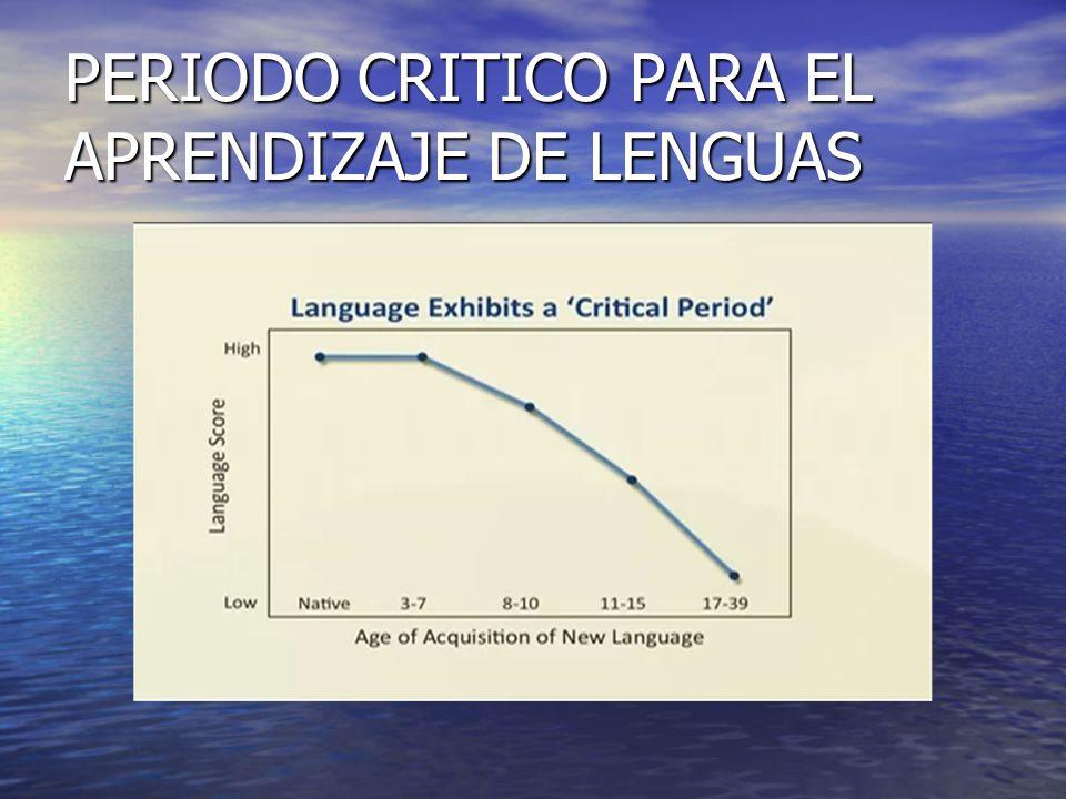 PERIODO CRITICO PARA EL APRENDIZAJE DE LENGUAS