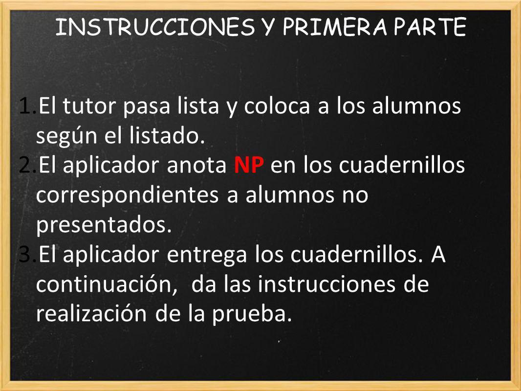 INSTRUCCIONES Y PRIMERA PARTE