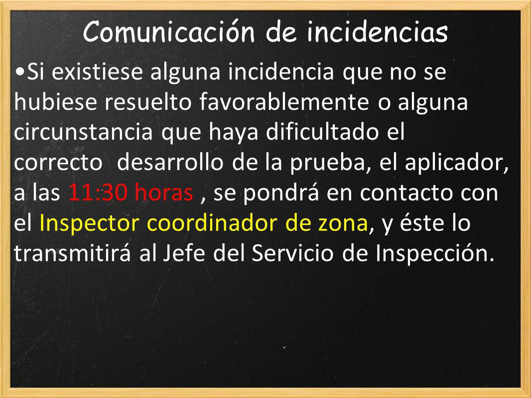 Comunicación de incidencias