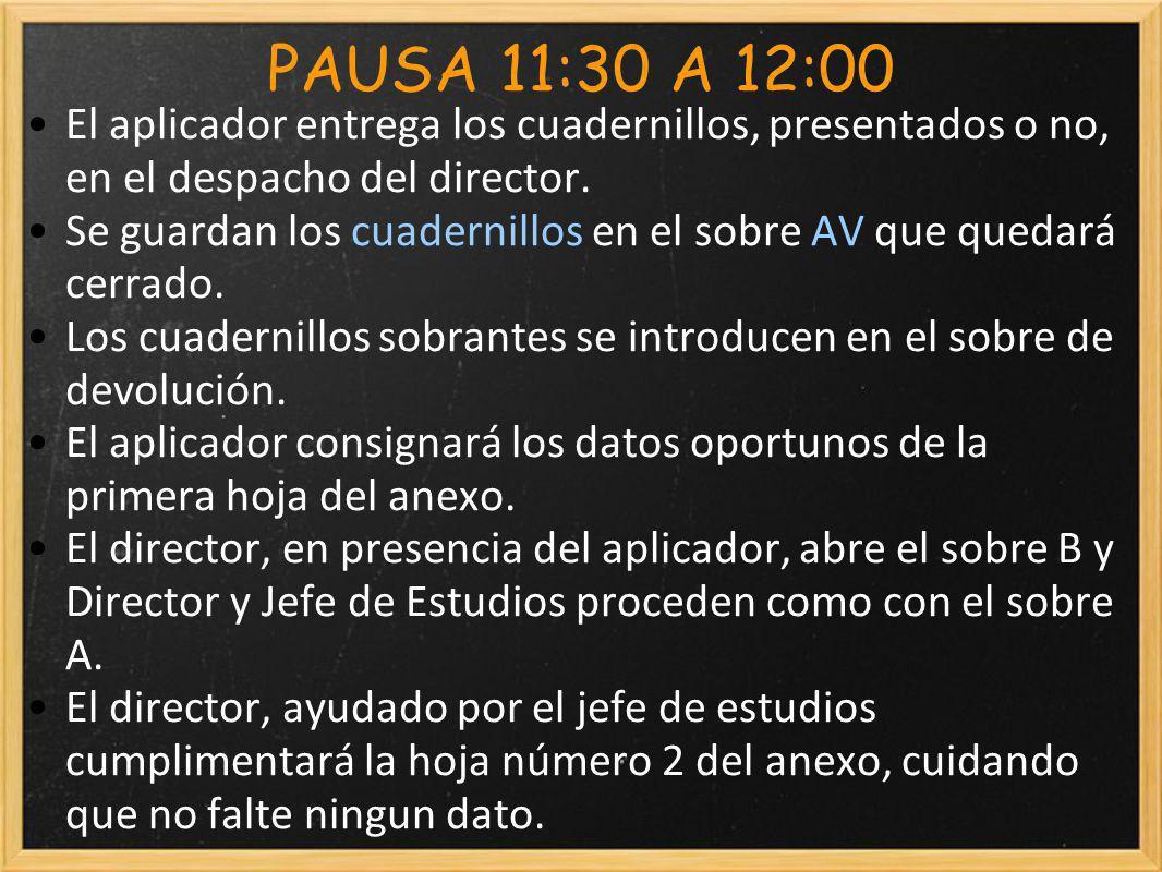 PAUSA 11:30 A 12:00 El aplicador entrega los cuadernillos, presentados o no, en el despacho del director.