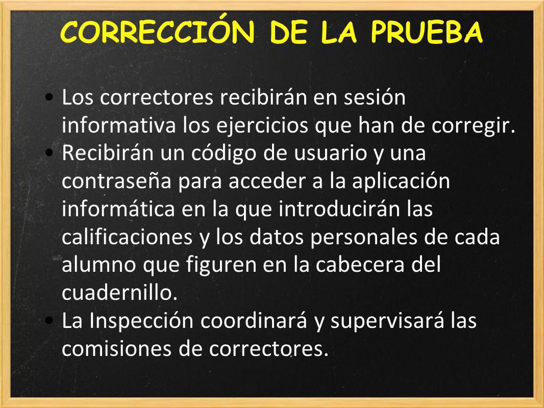 CORRECCIÓN DE LA PRUEBA