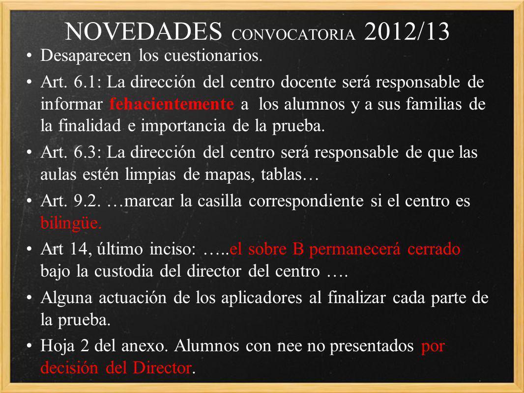 NOVEDADES CONVOCATORIA 2012/13