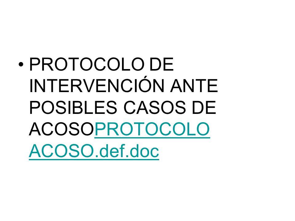 PROTOCOLO DE INTERVENCIÓN ANTE POSIBLES CASOS DE ACOSOPROTOCOLO ACOSO