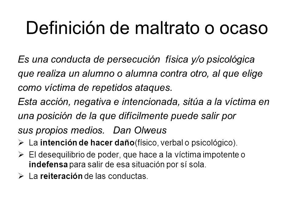 Definición de maltrato o ocaso